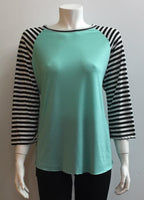 Mint Stripped Raglan- RTS