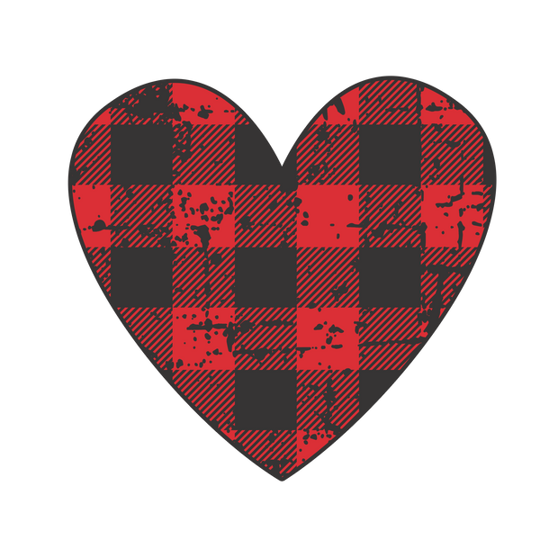 Buffalo Plaid Heart- Distressed