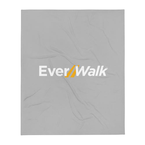 EverWalk Grey Fleece Blanket with Large White Logo