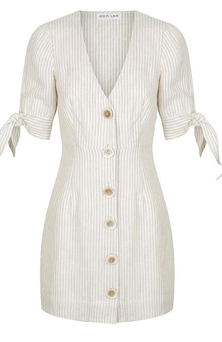 SHAW LINEN FITTED MINI DRESS