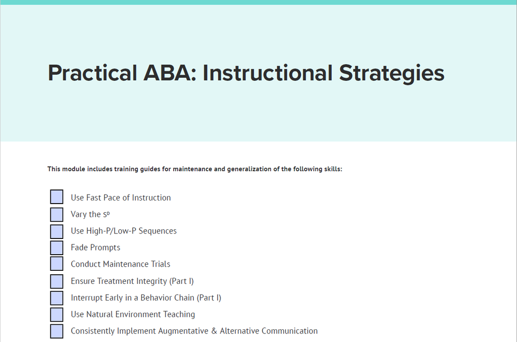 Practical ABA: Instructional Strategies: Digital Download