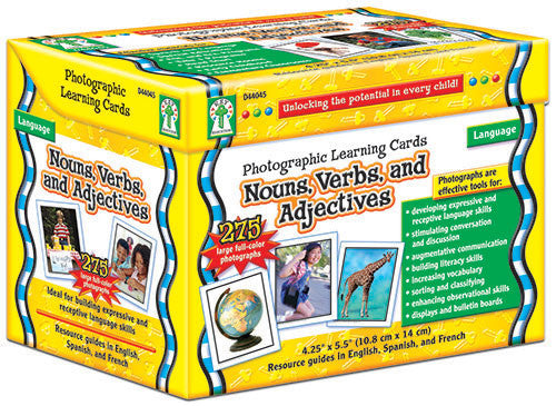 Nouns, Verbs & Adjectives Photographic Learning Cards