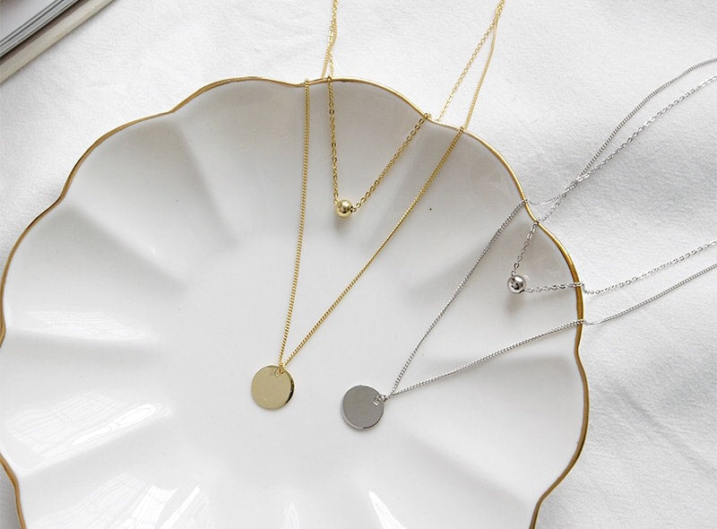 Gold Plated Silver Disc Double Layer Necklace Wholesale A