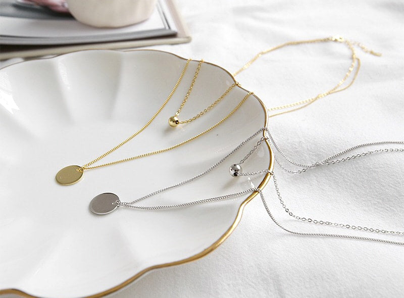Gold Plated Silver Disc Double Layer Necklace Wholesale B