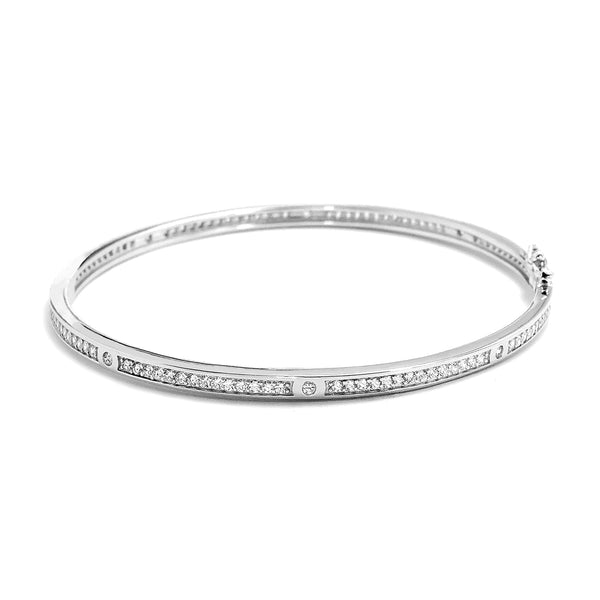 Cubic Zirconia Eternity 925 Sterling Silver Bangle 4mm Wholesale