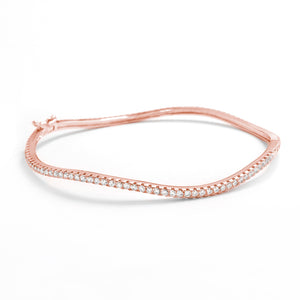 Gracious Rose Gold Plated 925 Silver CZ Eternity Bangle Wholesale Lots
