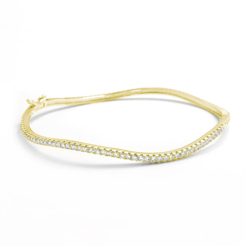 Gracious 18K Gold Plated 925 Silver CZ Eternity Bangle Wholesale