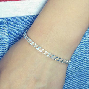 Diamond Cut Sterling Silver Italian Bevelled Flat Bracelet Wholesale Lots 2