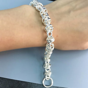 "Wholesale Sterling Silver Hight Polish Loops Twisted Chain Bracelet 8""  2"