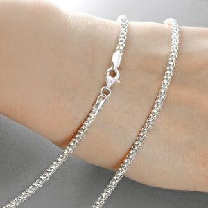 3mm Sterling Silver Italian Popcorn Chain Wholesale Lots