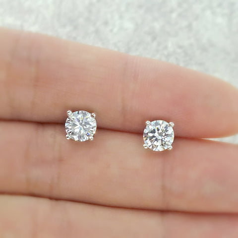 Sterling Silver 5 mm CZ Earrings Wholesale Lots
