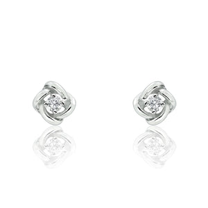 Fancy Sterling Silver CZ Earrings Studs
