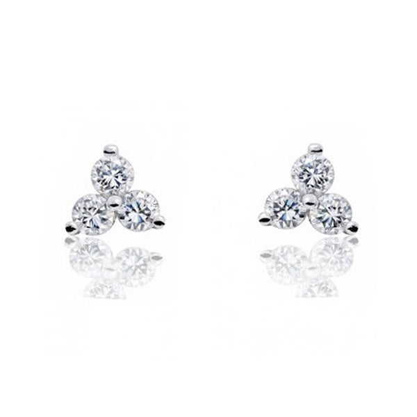 ZZZZZ123 925 Sterling Silver 1.2 Carat Cubic Zirconia Three Stone Earrings