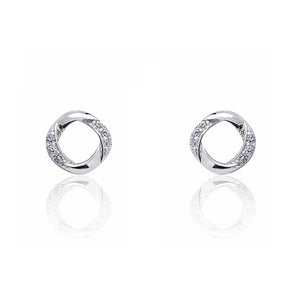 Graceful 925 Sterling Silver Cubic Zirconia Stud Earrings Wholesale