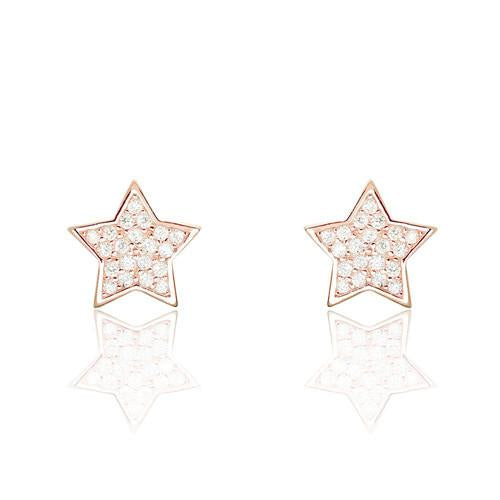 5ps/Lot Cute Star CZ Rose Gold Plated 925 Sterling Silver Stud Earrings Wholesale - SilverLots