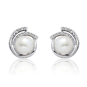 5ps/Lot 925 Sterling Silver CZ 8-9mm Pearl Stud Earrings