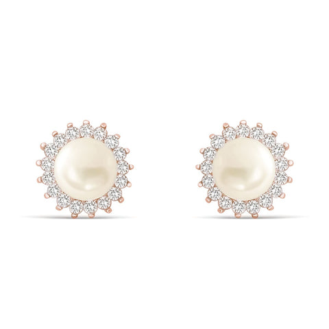 Gracious Rose Gold Plated Silver Pearl CZ Stud Earrings Wholesale