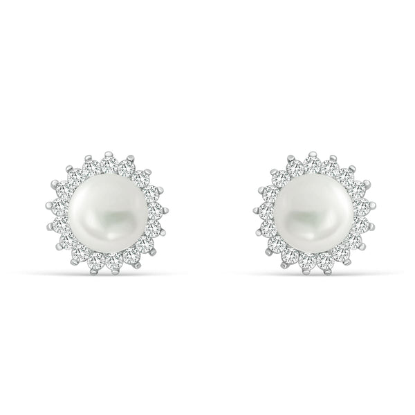 Gracious 7-8mm Pearl CZ Silver Stud Earrings Wholesale Lots