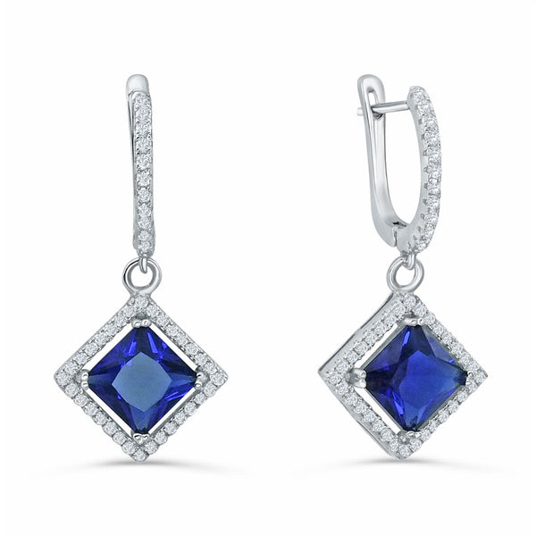 Sterling Silver Blue Crystal CZ Drop Earrings Wholesale Lots
