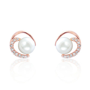 Gorgeous Circle 8mm Pearl CZ Rose Gold Over Silver Earrings Wholesale