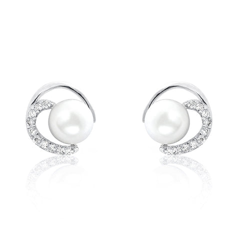 Gorgeous Circle 7-8mm Pearl CZ 925 Sterling Silver Earrings Wholesale