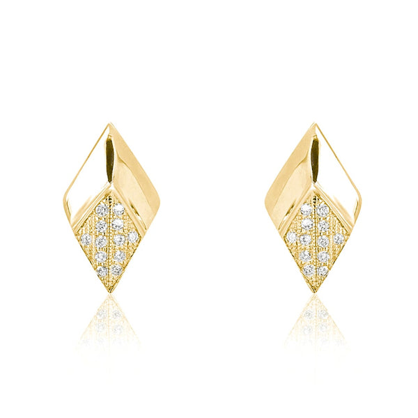CZ 9K Gold Plated 925 Silver Stud Earrings Wholesale