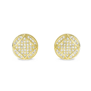 ZZZZZ123 9K Gold Plated Silver Cubic Zirconia Fabulous Circle Earrings