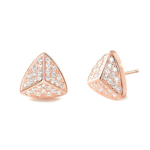 Rose Gold Plated Silver Triangle Earrings Wholesale