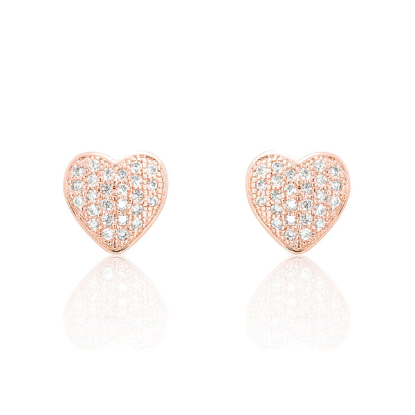 Heart Cubic Zirconia 925 Sterling Silver Earrings Rose Wholesale