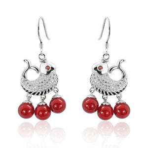 zz9 925 Sterling Silver Cubic Zirconia Red Agate Fish Earrings