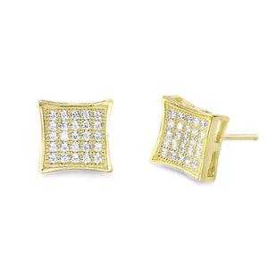 9K Gold Plated Sterling Silver CZ Micro Pave Earrings Wholesale