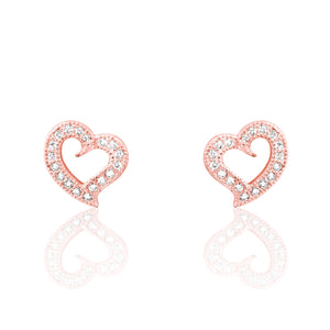 Stylish Rose Gold Plated Silver Heart Earrings Wholesale Lots