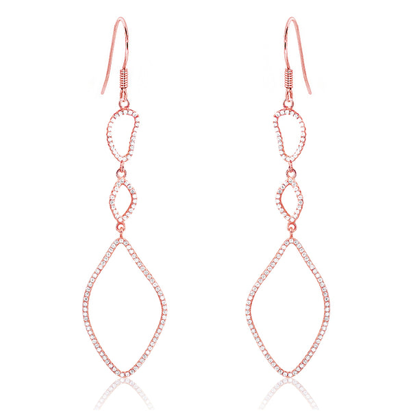 Rose Gold Plated Sterling Silver Shining CZ Drop Earrings Wholesale Lots
