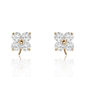 Rose Gold Plated Silver CZ Lucky Leaf Earrings Wholesale Lots