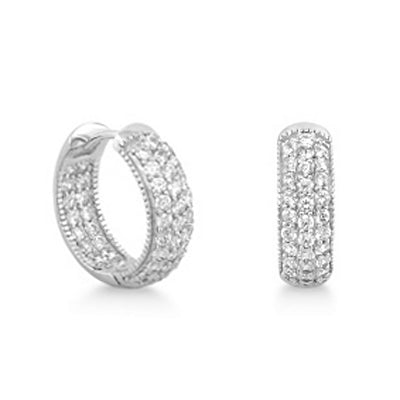 Sterling Silver Pave CZ Earrings Hoop Wholesale