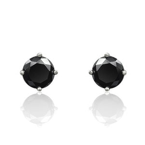 5 mm Black CZ Sterling Silver Stud Earrings Wholesale Lots
