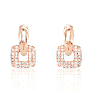 Unique Rose Gold Plated Silver Fashion CZ Hoop Earrings Wholesale Lots