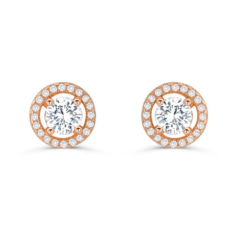 Stunning Rose Gold Plated Sterling Silver CZ Stud Earrings Wholesale