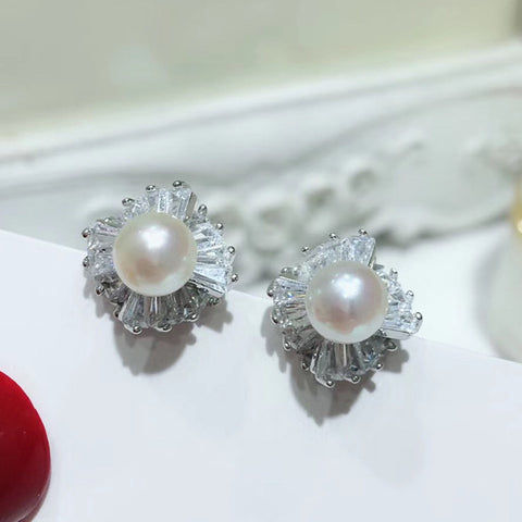 Sterling Silver Baguette Cut CZ Pearl Stud Earrings Wholesale
