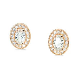 Rose Gold Plated Sterling Silver Oval CZ Halo Earrings Stud Wholesale