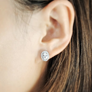 Sterling Silver Oval Cut Cubic Zirconia Halo Stud Earrings Wholesale 2
