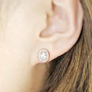 Rose Gold Plated Sterling Silver Oval CZ Halo Earrings Stud Wholesale 2