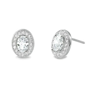 Sterling Silver Oval Cut Cubic Zirconia Halo Stud Earrings Wholesale