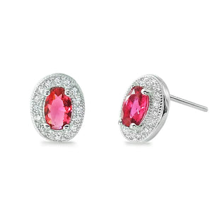 Sterling Silver Oval Cut Red CZ Halo Stud Earrings Wholesale