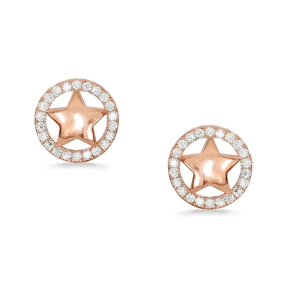 b20fcdd6e Rose Gold Plated Sterling Silver CZ Star Earrings Studs Wholesale ...