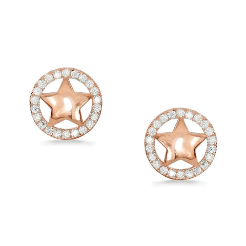 Rose Gold Plated Sterling Silver CZ Star Earrings Studs Wholesale