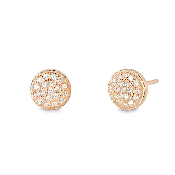 Rose Silver Mini Pave Disc Round Circle Stud Wholesale - SilverLots