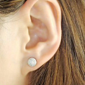 Sterling Silver Mini Pave Disc Round Circle Stud Earrings Wholesale 2