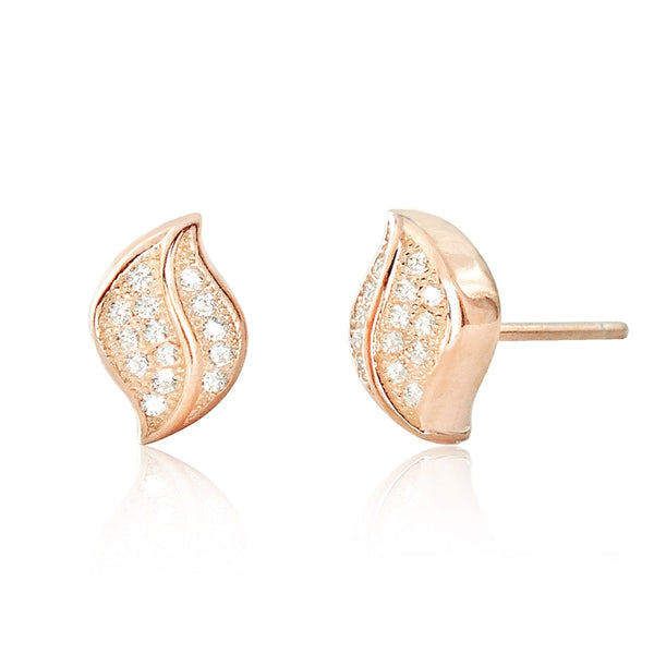 5ps/Lot CZ Rose Gold Plated Sterling Silver Leaf Earrings Wholesale