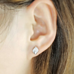 5ps/Lot CZ Sterling Silver Leaf Earrings Wholesale 2
